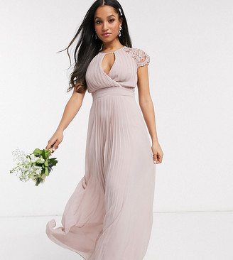 TFNC Petite bridesmaid lace sleeve maxi dress in pink