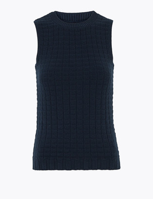 Marks and Spencer Pure Cotton Knitted Sleeveless Fitted Top