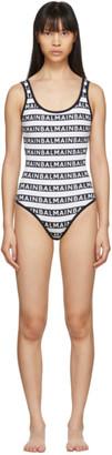 Balmain Black and White Logo Stripe One-Piece Swimsuit