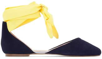 La Redoute Collections Leather Pointed Toe Ballet Pumps with Ankle Ties