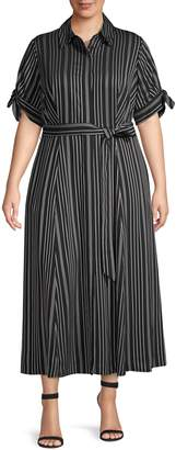 Calvin Klein Collection Plus Striped Crepe Shirtdress