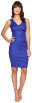 Nicole Miller V-Neck Side Tuck Stretch Linen Dress Women's Dress