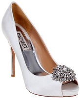 Badgley Mischka Jeannie Embellished Peep Toe Satin Pump