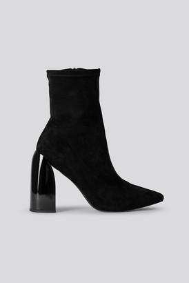 NA-KD Tight Shaft Block Heel Booties Black