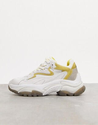 Ash addict chunky trainers in white with contast yellow