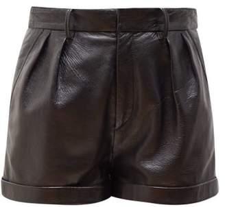 Isabel Marant Fabot Pleated Leather Shorts - Womens - Black