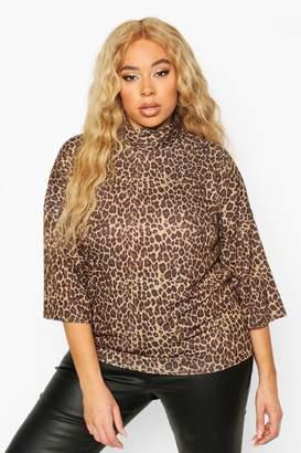 boohoo Plus Leopard 3/4 Sleeve Boxy Fit T-shirt