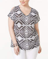 INC International Concepts Plus Size Printed Cold-Shoulder Top, Only at Macy's