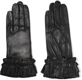 Agnelle Ruffled leather gloves