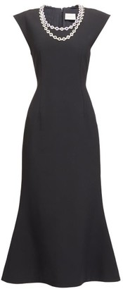 Christopher Kane Embellished-neck Flared Dress - Black