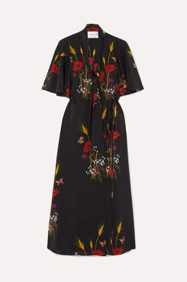 Valentino Tie-neck Floral-print Silk-jersey Wrap Dress - Black