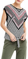 Oasis Tribal Woven Front Knot Top, Black/Multi