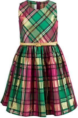 Bonnie Jean Big Girls Plus Size Belted Plaid Taffeta Dress