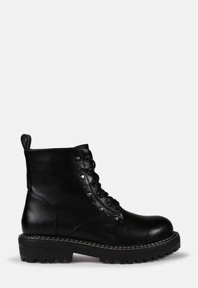 Missguided Stud Detail Lace Up Ankle Boots