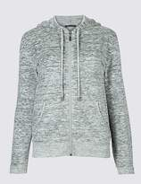 Marks and Spencer Cotton Rich Space Dye Hooded Sweatshirt