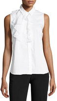 Laundry by Shelli Segal Sleeveless Ruffle-Bib Poplin Blouse, White