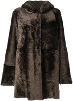 Drome hooded coat - women - Leather/Viscose/Lamb Fur - S