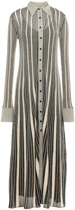 M Missoni Pleated Metallic Striped Crochet-knit Maxi Shirt Dress