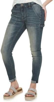 Juniors' Indigo Rein Crosshatch Porkchop Pocket Utility Jeans