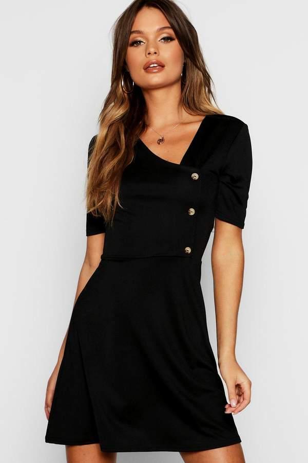 boohoo Horn Button Short Sleeve Skater Dress