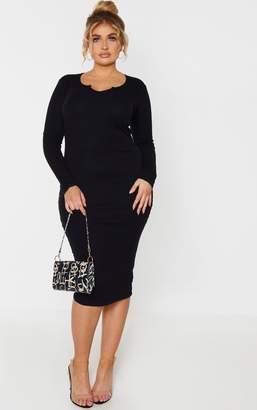 PrettyLittleThing Plus Black Rib V Neck Midi Dress
