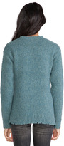 Alexander Wang Distressed Jersey Lined Wool Crewneck Pullover