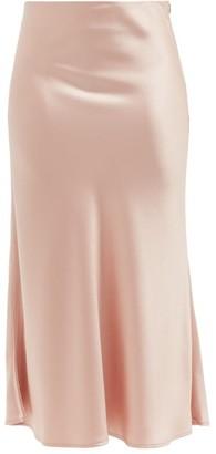 Galvan Valetta Satin Midi Skirt - Light Pink