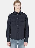 Maxwell Snow Men's Stiff Denim Shirt In Indigo