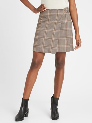 Banana Republic Petite Plaid Wrap Mini Skirt