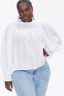 Forever 21 Plus Size Grid Print Trumpet Top