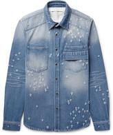 Givenchy - Slim-fit Distressed Denim Shirt