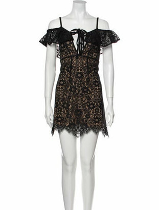 For Love & Lemons Lace Pattern Mini Dress w/ Tags Black