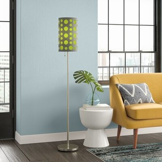 """Trule Butcher 62"""" Floor Lamp Shade Color: Gray/Green"""
