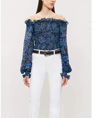 The Kooples Floral-print off-the-shoulder silk-chiffon top