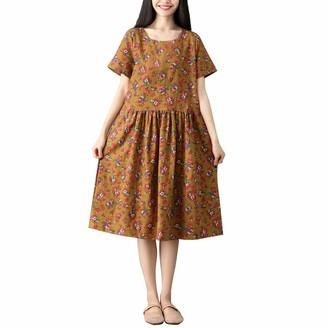 Toamen Women's Dress Toamen Vintage Dresses Sale Women Plus Size Floral Print Short Sleeve Cotton Linen Loose Swing A-line Dress (Khaki 2XL)