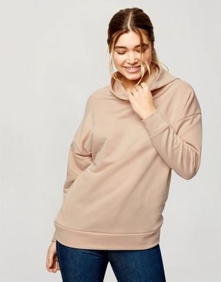 Miss Selfridge longline hoodie in cream