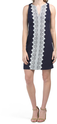 Sleeveless Sheath Dress With Embroidered Trim
