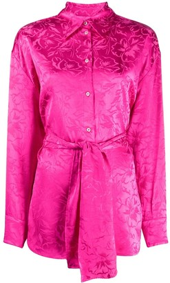 MSGM Floral-Jacquard Belted Shirt