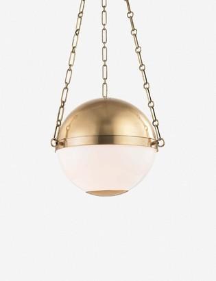 AERIN Round Pendant, Aged Brass