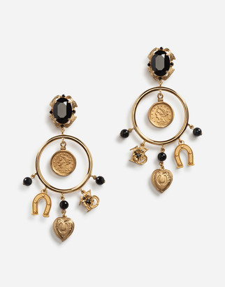 Dolce & Gabbana Drop Earrings With Decorative Signature Details