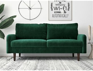 "Everly Devaney Velvet 71.6"" Round Arm Sofa Quinn Upholstery Color: Green"