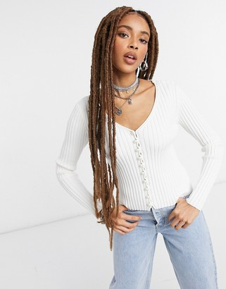 NA-KD faux pearl button cardigan in off white