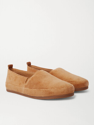 Mulo Shearling-Lined Waxed-Suede Slippers