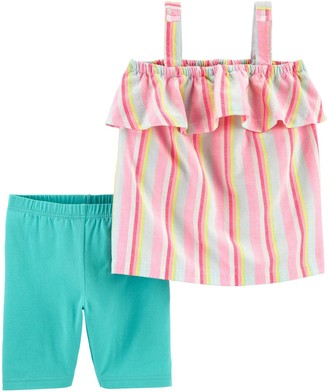 Carter's Girls 4-8 2-Piece Striped Tank & Playground Short Set