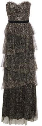 Marchesa Strapless Tiered Velvet-trimmed Glittered Tulle Gown