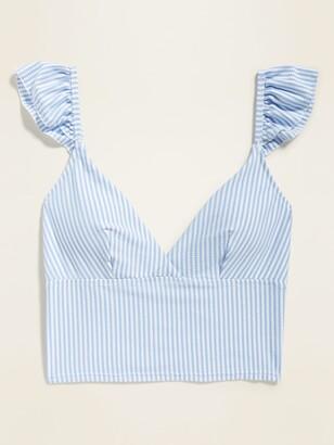 Old Navy Flutter-Sleeve Seersucker-Stripe Long-Line Swim Top for Women