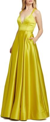 Mac Duggal Sleeveless Plunge Neck Gown