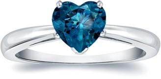 Auriya 14k Gold 1ctw Heart Shape Blue Diamond Solitaire Engagement Ring