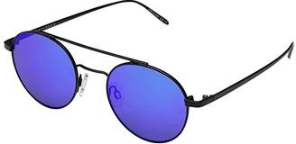 Von Zipper VonZipper Skiffle (Black Satin/Blue Chrome) Athletic Performance Sport Sunglasses