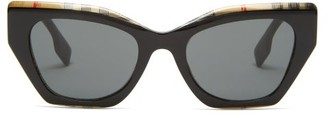 Burberry Vintage-check Cat-eye Acetate Sunglasses - Womens - Black Print